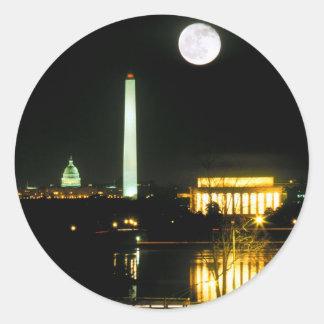 Capitol Building, Lincoln Memorial, Washington Classic Round Sticker
