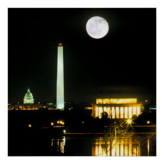 Capitol Building, Lincoln Memorial, Washington Poster