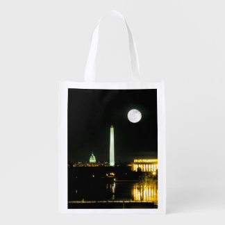 Capitol Building, Lincoln Memorial, Washington Reusable Grocery Bags