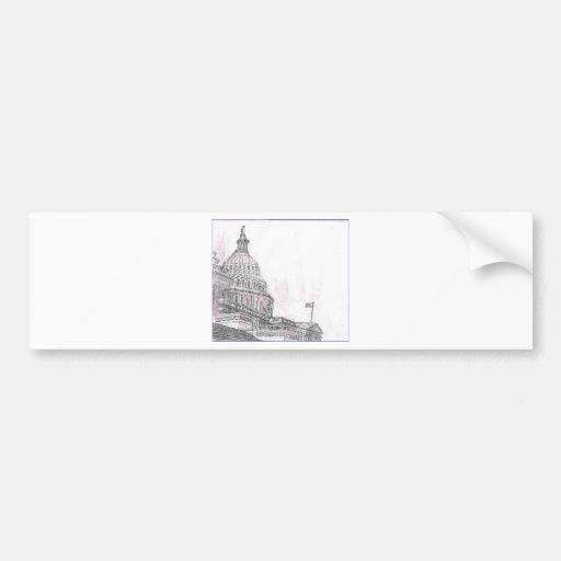 capitol building.PNG Drawing of Capitol Building Car Bumper Sticker
