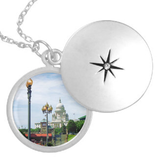Capitol Building Seen from Waterplace Park Round Locket Necklace