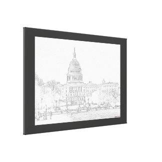 Capitol Building Sketch Canvas Print