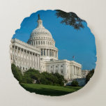 Capitol Building West View Round Pillow