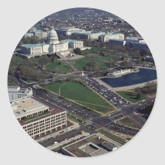 Capitol Hill Aerial Photograph Classic Round Sticker