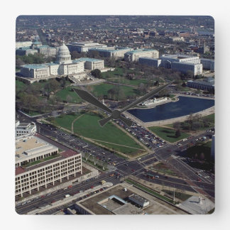 Capitol Hill Aerial Photograph Square Wall Clock