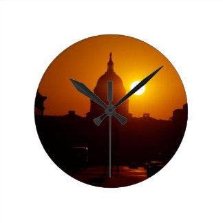 Capitol Hill Sunset Round Clock