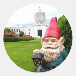 Capitol Lawn Gnome Classic Round Sticker