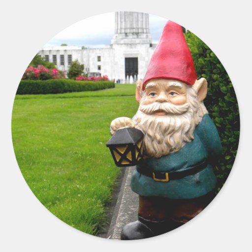 Capitol Lawn Gnome Round Stickers