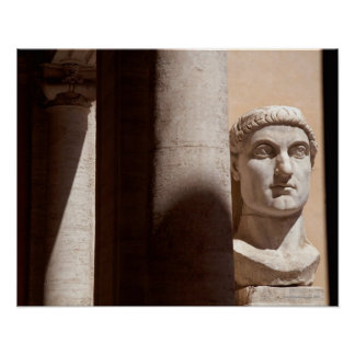 Capitol museum, bust face of emperor constantine poster