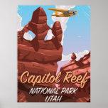 Capitol Reef National park Utah travel poster. Poster
