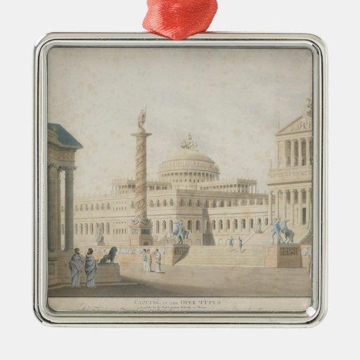 Capitol, set for 'La clemeza di Tito' by Square Metal Christmas Ornament