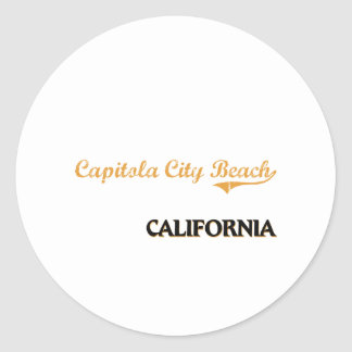 Capitola City Beach California Classic Classic Round Sticker