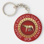 Capitoline Wolf Basic Round Button Keychain
