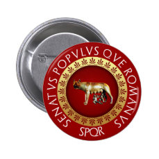 Capitoline Wolf Button