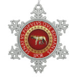 Capitoline Wolf Snowflake Pewter Christmas Ornament