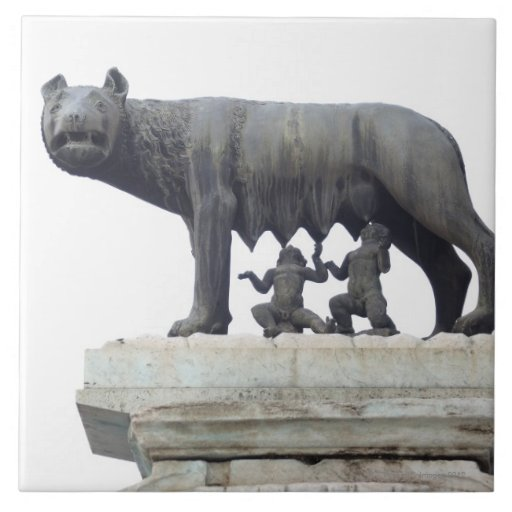 Capitoline Wolf Statue (She-wolf suckling), Tile