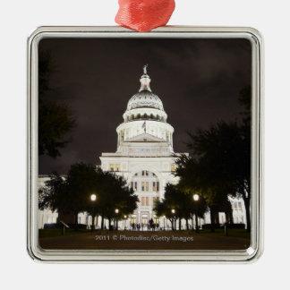 Capitolio de Austin, Tejas del estado en la noche Adorno Cuadrado Plateado