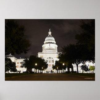 Capitolio de Austin, Tejas del estado en la noche Póster