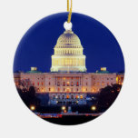 Capitolio de Estados Unidos del Washington DC en Adorno Navideño Redondo De Cerámica