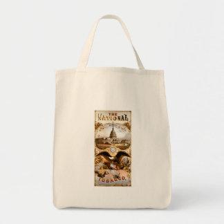 Capitolio de Estados Unidos y anuncio del vintage  Bolsas De Mano
