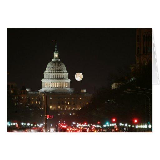 Capitolio de los E.E.U.U. que construye la Luna Ll Tarjeta De Felicitación