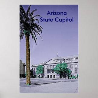 Capitolio del estado de Arizona retro con el tacto Póster