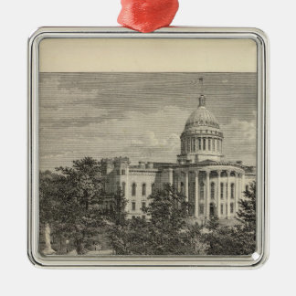 Capitolio del estado, Madison, WIS Adorno Navideño Cuadrado De Metal
