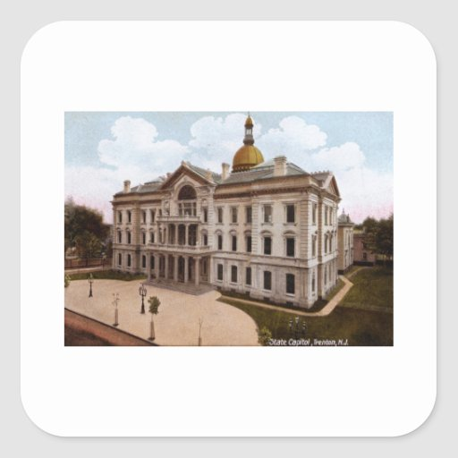 Capitolio del estado, vintage de Trenton NJ Pegatina Cuadrada
