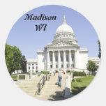 Capitolio que construye los WI de Madison Etiqueta