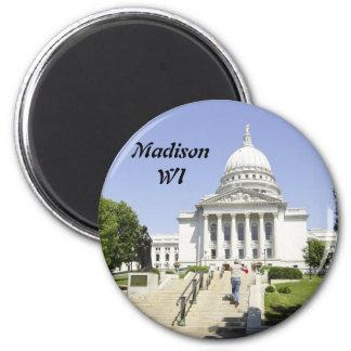 Capitolio que construye los WI de Madison Imán Redondo 5 Cm