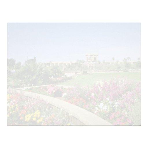 Capitolio rosado del estado, jardines de flores, P Plantillas De Membrete