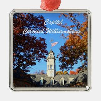 Capitolio, Williamsburg colonial Adorno Cuadrado Plateado