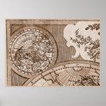 Capítulo 1 del mapa del mundo de Sepia Version de  Poster