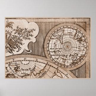 Capítulo 3 del mapa del mundo de Sepia Version de Póster