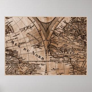 Capítulo 5 del mapa del mundo de Sepia Version de  Posters