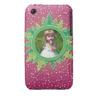 Capítulo con los árboles de navidad en BG rosada iPhone 3 Case-Mate Cárcasa