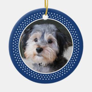 Capítulo de la foto del mascota del perro - el adorno redondo de cerámica