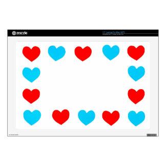 Capítulo de los corazones del papel rojo y azul calcomanías para 43,2cm portátiles