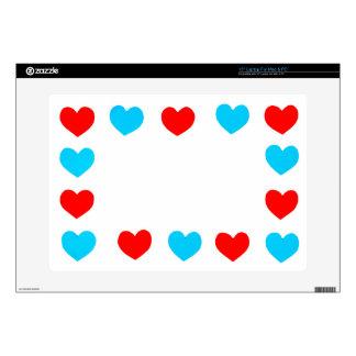 Capítulo de los corazones del papel rojo y azul skins para 38,1cm portátiles