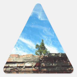Capítulo de un cielo azul con las nubes pegatina triangular