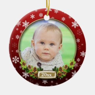 Capítulo (rojo) bonito de la foto del navidad adorno navideño redondo de cerámica