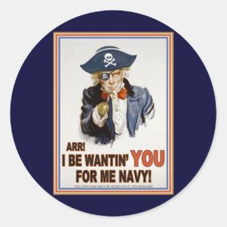 Cap'n Sam Classic Round Sticker