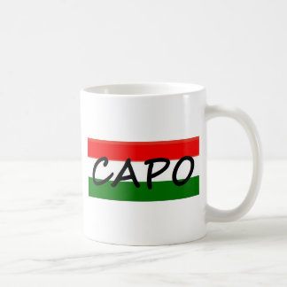 Capo with green and red stripes, show style! classic white coffee mug