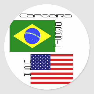 Capoeira: Brasil, USA flags Classic Round Sticker