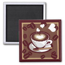 art, pop, mug, icon, lait, cafe, card, love, cute, funny, humor, aroma, brown, drink, heart, beans, happy, design, coffee, vector, symbol, refresh, graphic, morning, caffeine, colorful, cappuccino, illustration, cafe-au-lait, illustrations, Ímã com design gráfico personalizado