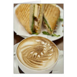 Cappuccino and panini lunch greeting card