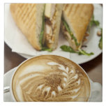 Cappuccino and panini lunch large square tile