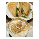 Cappuccino and panini lunch postcard