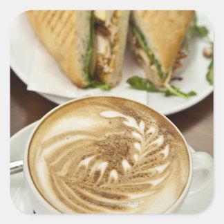 Cappuccino and panini lunch square sticker