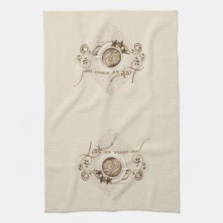 Cappuccino Coffee Heart Leaf Swirl Star Cookie Hand Towels